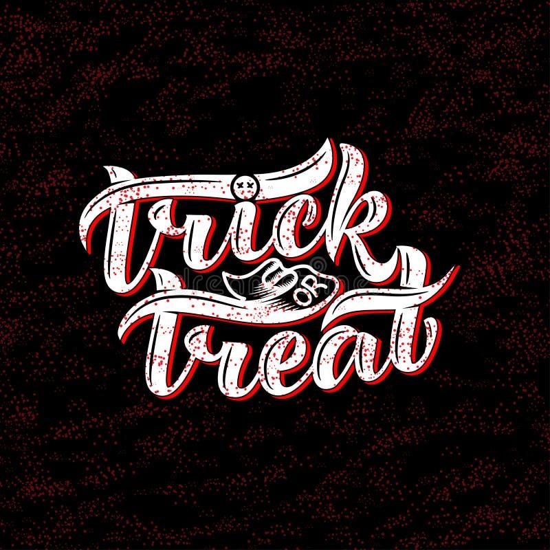 Truque ou deleite Halloween Ilustração do vetor em um fundo branco Composição da rotulação, grande para o cartão de presente de é ilustração do vetor