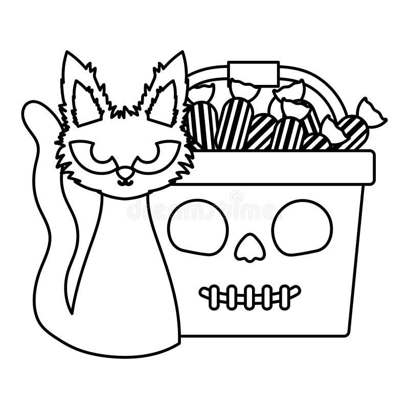 Truque ou tratamento - imagem de linha de halloween feliz ilustração royalty free