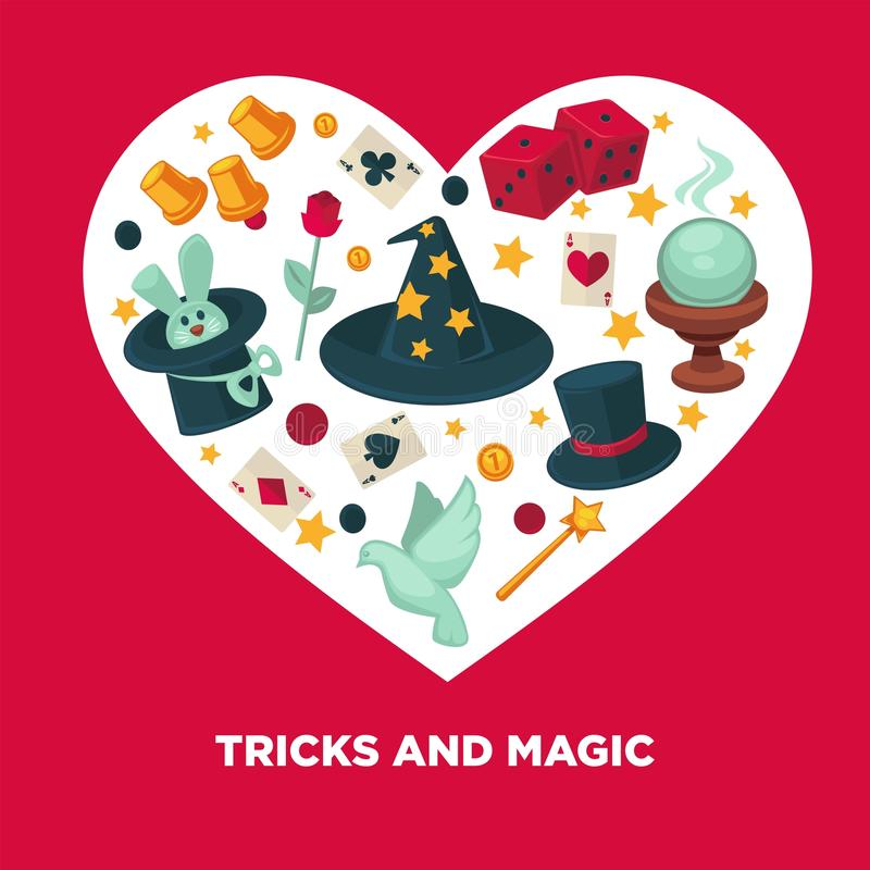 Truques e cartaz mágico do coração do vetor ilustração royalty free