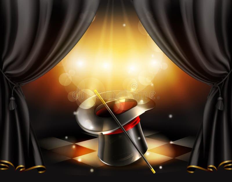 Truques mágicos, fundo ilustração do vetor