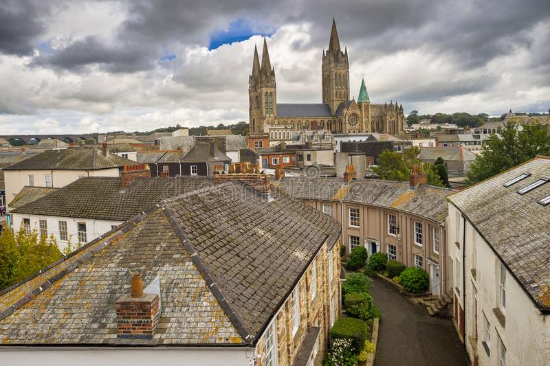 Truro Cathedral. In the city of Truro, Cornwall, United Kingdom, Europe. Taken overlooking Walsingham Place royalty free stock photo