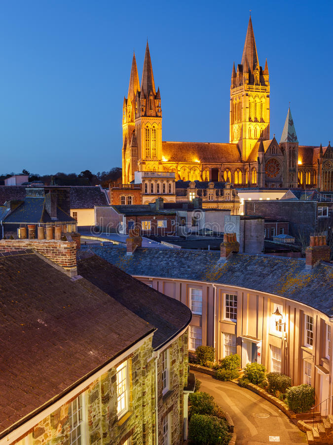 Truro Cornwall England. Rooftop view of Truro Cornwall England with the Cathedral illuminated at dusk royalty free stock images