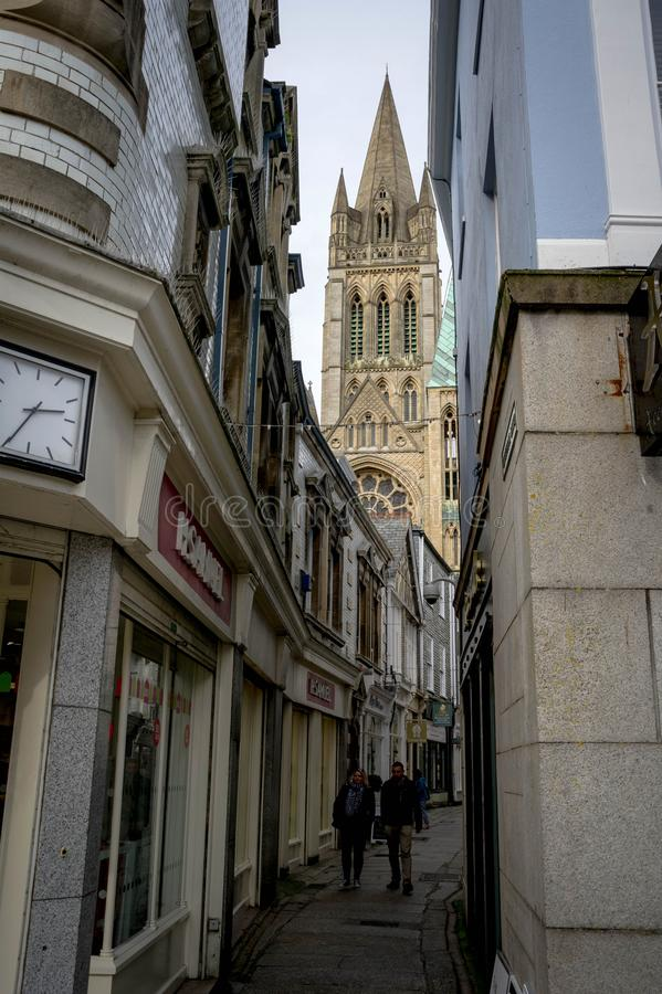 Truro  in cornwall. Narrow street in truro in cornwall royalty free stock photography