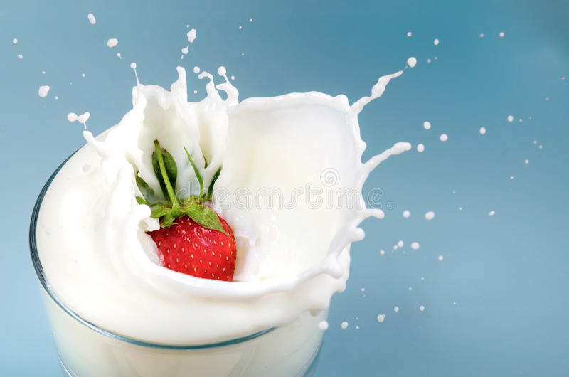 Truskawek krople w mleku obraz stock