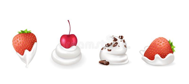 Truskawka i wiśnia, czekolada z Kremowym wektorem ilustracja wektor