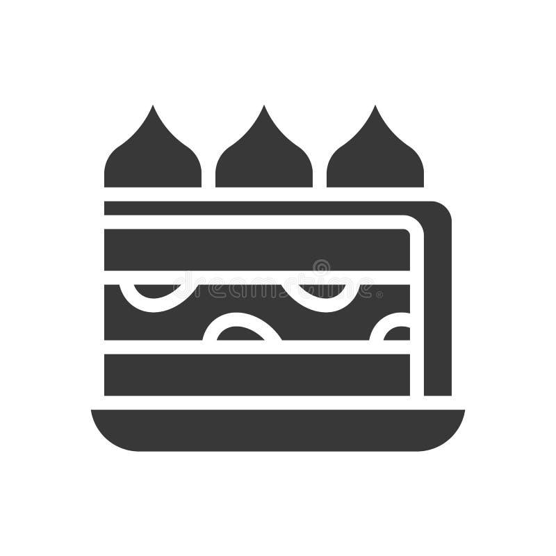 Truskawka skrótu tort, piekarnia i ciasto set, glif ikona ilustracja wektor