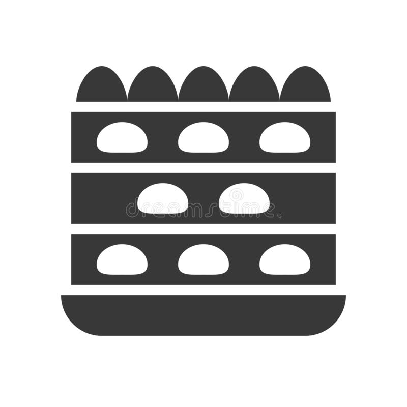 Truskawka skrótu tort, piekarnia i ciasto set, glif ikona royalty ilustracja