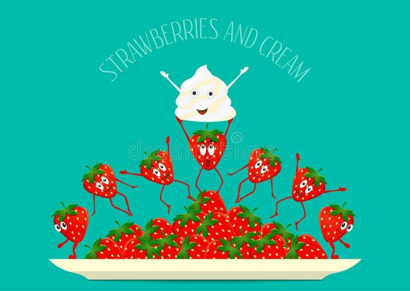 truskawka Truskawkowy wektor Truskawki i kremowy skład na talerzu Śmieszny, kreskówki owoc tam owocowy formata set śmieszny royalty ilustracja