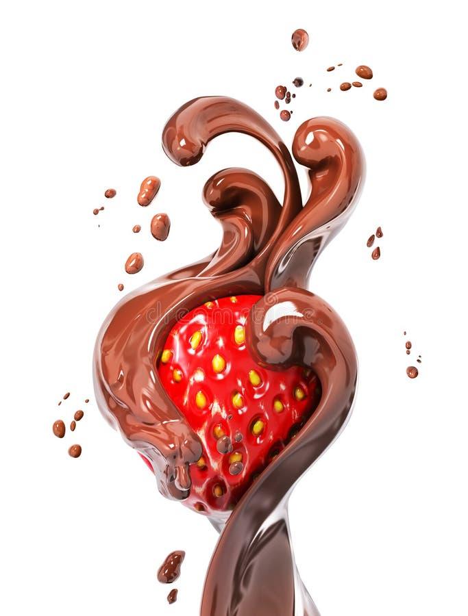 Truskawka w chełbotanie czekoladowym 3d renderingu royalty ilustracja