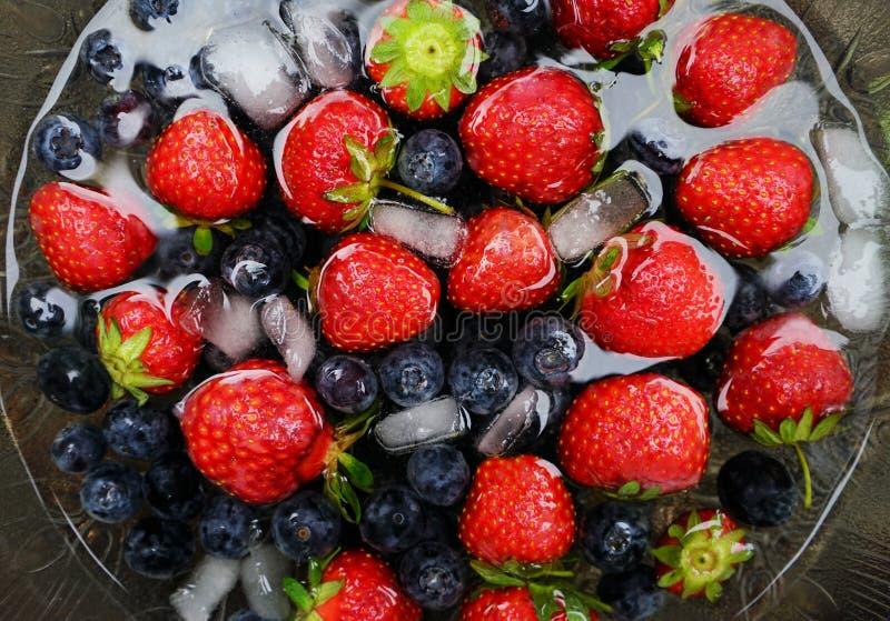 Truskawki i czarne jagody obraz stock