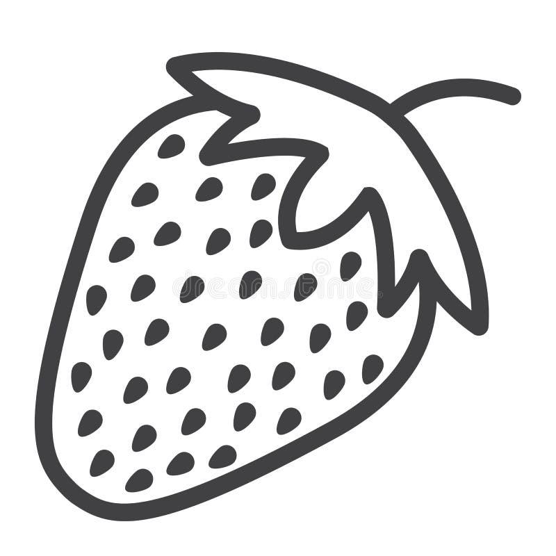 Truskawki kreskowa ikona, owoc i dieta, royalty ilustracja