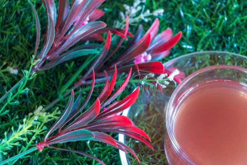 Truskawkowa herbata na trawie i kwiacie fotografia stock