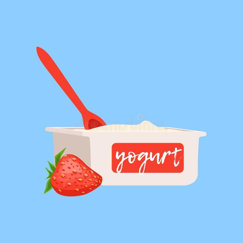 Truskawkowa jogurtu, świeżej i zdrowej nabiału wektoru ilustracja, ilustracji