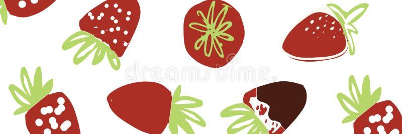 Truskawkowa ręka rysująca kolor ilustracja dla twój projekta: torby, koszulki, tapeta royalty ilustracja