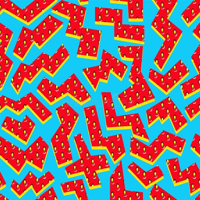 TRUSKAWKOWA sezon owoc tekstura abstrakcjonistyczny deseniowy bezszwowy wektor MEMPHIS sztuki GEOMETRYCZNY kształt ilustracja wektor