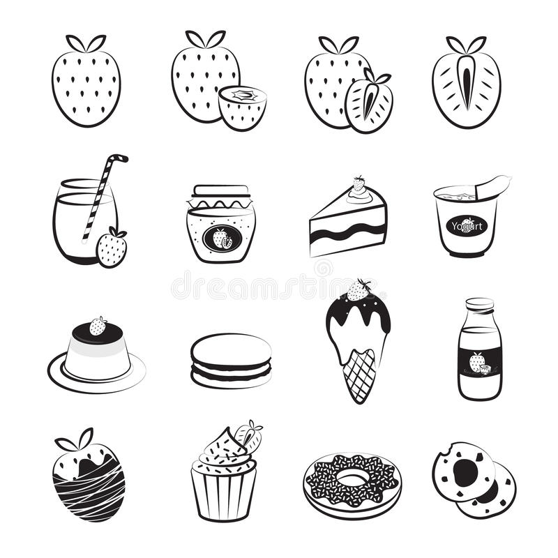 Truskawkowe owoc i produktu ikony Ustawiać zdjęcia stock