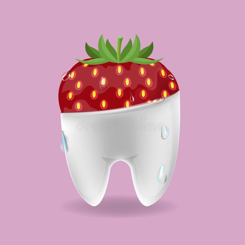 Truskawkowego zębu symbolu Mieszany Stomatologiczny wektor royalty ilustracja