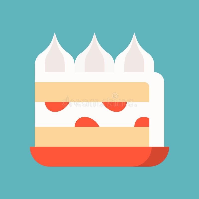 Truskawkowy śmietanka tort, cukierki i ciasto set, płaska projekt ikona ilustracja wektor