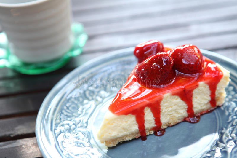 Truskawkowy cheesecake obraz royalty free