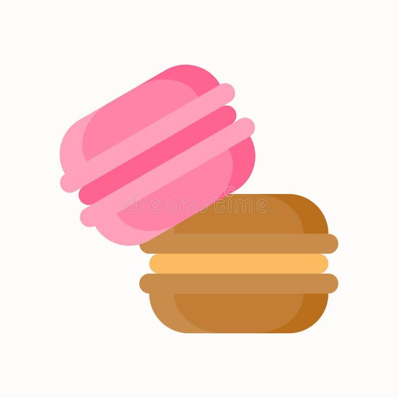 Truskawkowy i czekoladowy macaron cukierki i ciasto set, mieszkanie de ilustracji