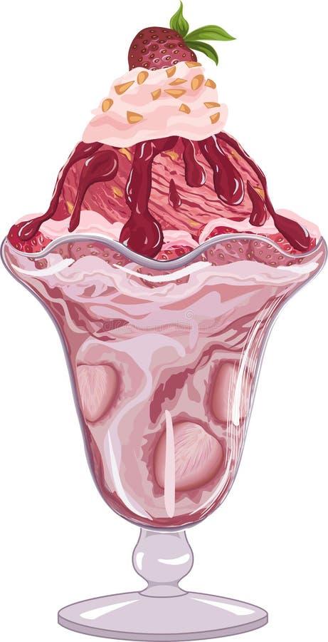 Truskawkowy lody ilustracji