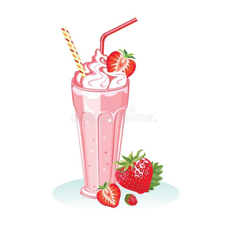 Truskawkowy milkshake w szkle Od?wie?aj?cy koktajl ilustracji