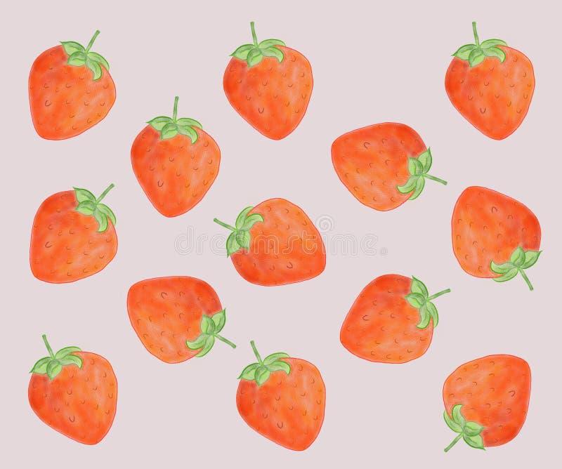Truskawkowy owocowy bezszwowy deseniowy t?o R??owy t?o ilustracja wektor