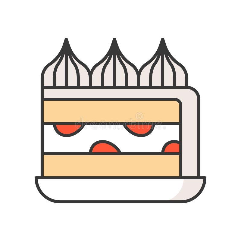 Truskawkowy shortcake cukierki i ciasto set, wypełniał kontur ikonę royalty ilustracja