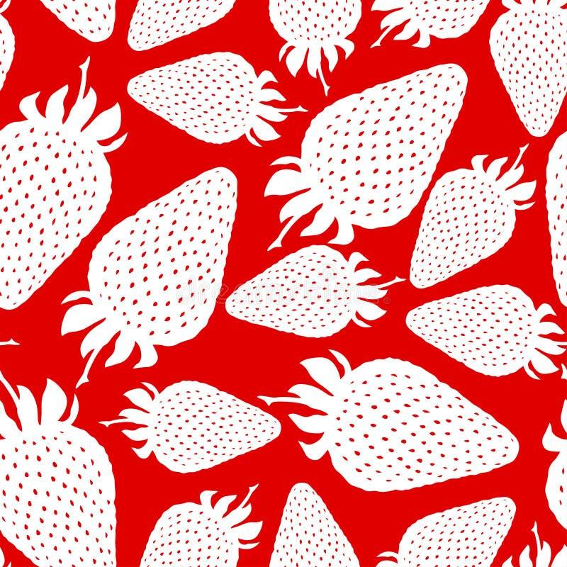 Truskawkowy sylwetka wzór bezszwowy na czerwonym tle ilustracji