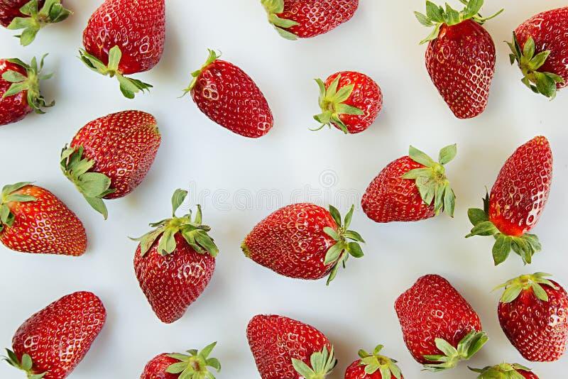Truskawkowy tło na białym tle Kolorowe dojrzałe jagod truskawki owocowy tło pokrojone ananas w pół bezszwowa truskawka Wiosna ple zdjęcia royalty free