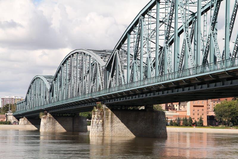 Truss bridge. Poland - Torun famous truss bridge over Vistula river. Transportation infrastructure stock image