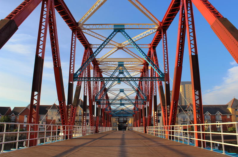 Truss Bridge. A colourful truss footbridge in Manchester royalty free stock photography
