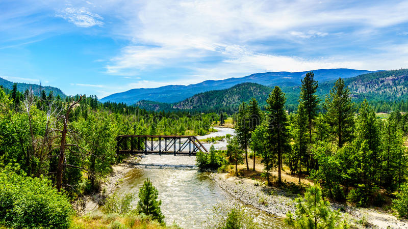 Truss Bridge over the Nicola River as it flows along Highway 8 from the town of Merritt to the Fraser River royalty free stock photos