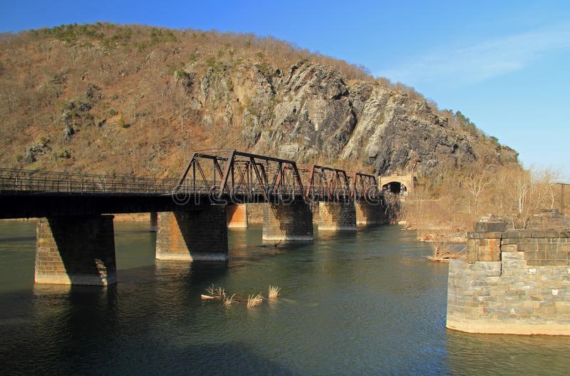 Truss Bridge over the Potomac River. A truss bridge crosses the Potomac River and connects the historic town of Harpers Ferry, West Virginia, to Maryland Heights royalty free stock photos