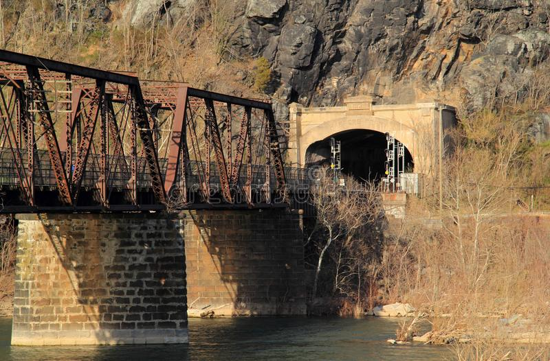 Truss Bridge over the Potomac River. A truss bridge crosses the Potomac River and connects the historic town of Harpers Ferry, West Virginia, to Maryland Heights royalty free stock images