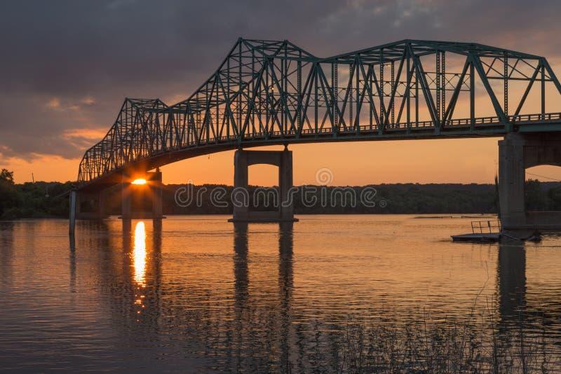 Truss Bridge at Sunset. Continuous truss bridge at sunset spanning the Illinois River in Lacon, Illinois stock images