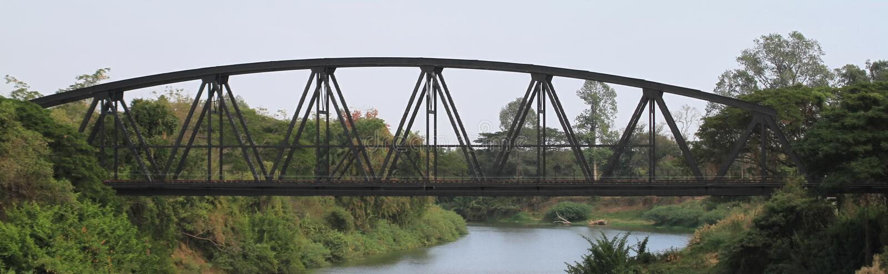 Truss Bridge of Train. Over river stock photography