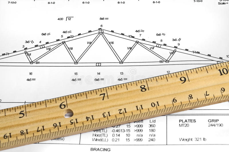 Truss diagram. Closeup of a wood truss diagram with ruler royalty free stock photo