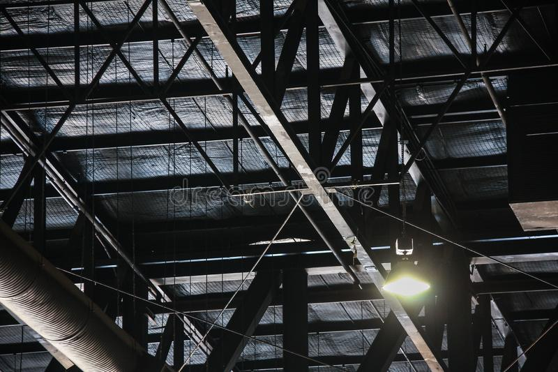 Truss structure In the factory. Texture background stock photos