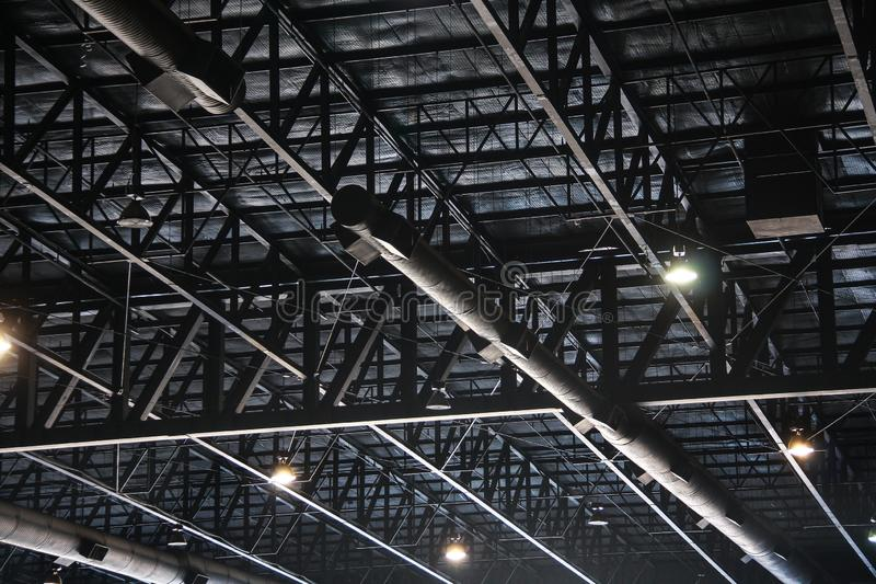 Truss structure In the factory. Texture background royalty free stock photography