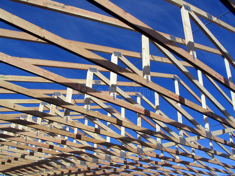 Trusses during construction on a house. And a garage royalty free stock photos