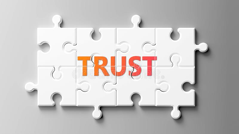 Trust complex like a puzzle - pictured as word Trust on a puzzle pieces to show that Trust can be difficult and needs cooperating vector illustration