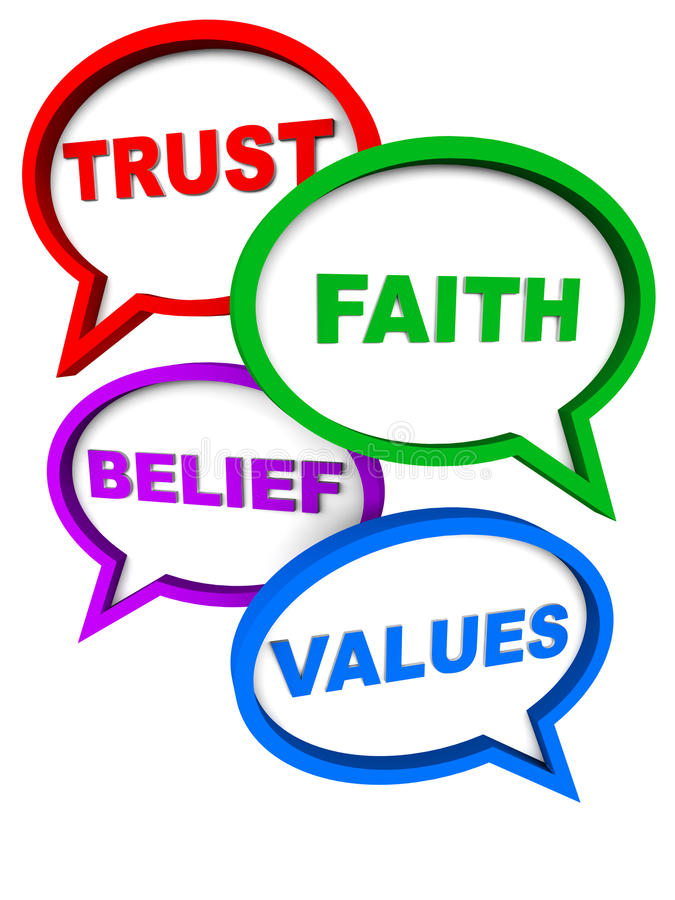 Trust faith belief values. Words trust faith belief values in speech bubbles, showing essential human and corporate qualities to look for stock illustration