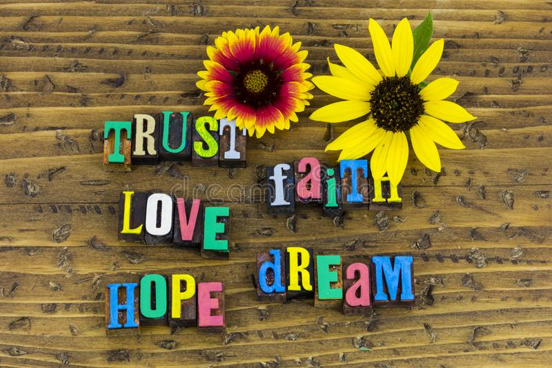 Trust faith love dream hope royalty free stock photos