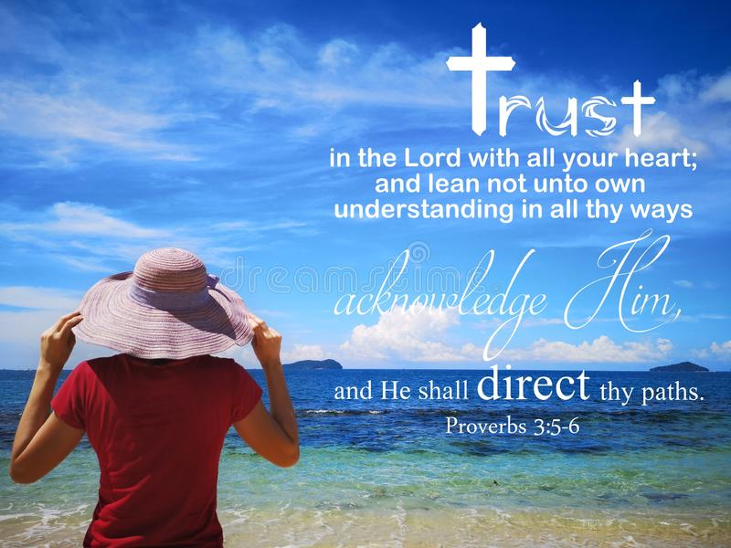 Trust in God with background ocean view and a lady look up to the sky design for Christianity. stock photos