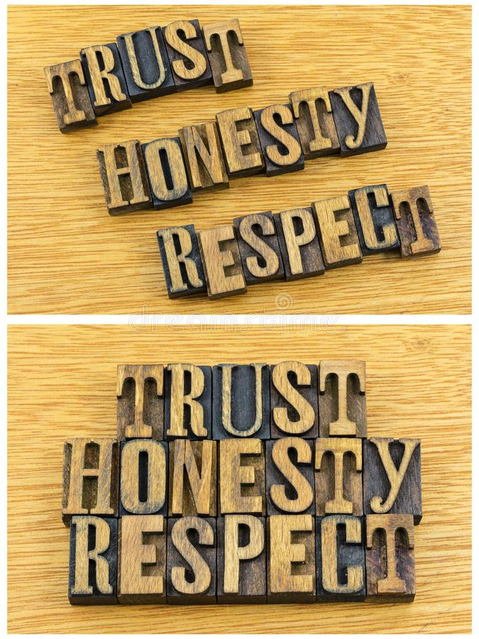 Trust honesty respect letterpress. Motivational message trust honesty respect letterpress block wood words letters quote inspiration ethical typography concept stock photos