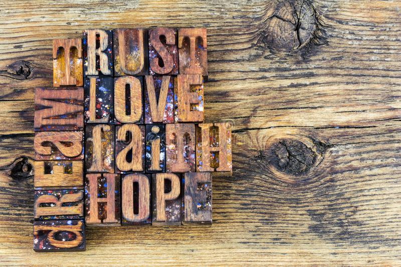 Trust love faith hope dream message stock photo