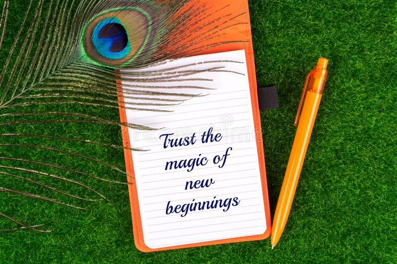 Trust the magic of new beginnings. Text in notebook with peacock feather , pen and heart shape on grass royalty free stock images