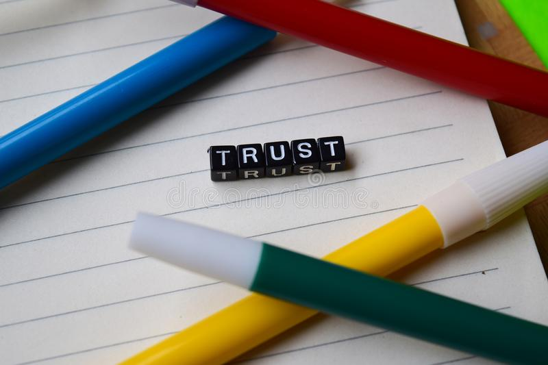 Trust message written on wooden blocks. education and motivation concepts. stock photo
