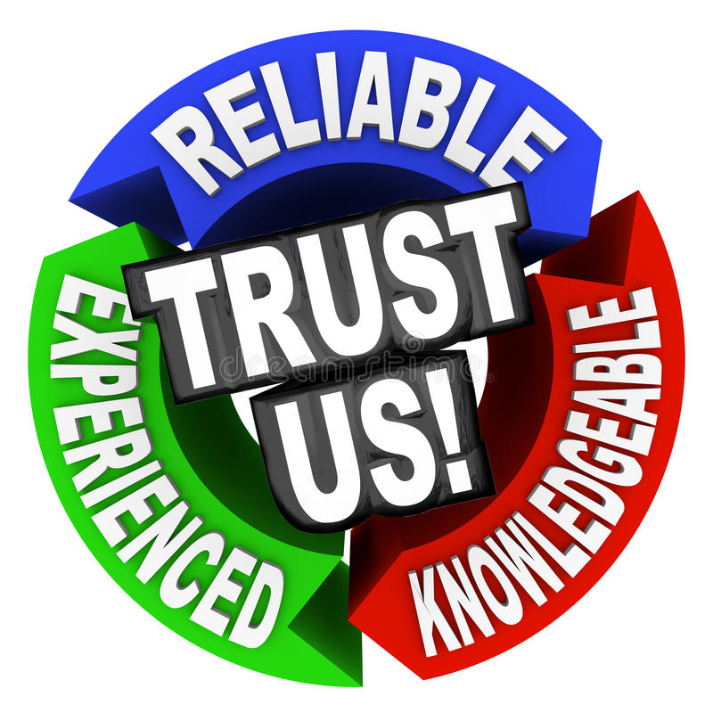 Trust Us Circle Words Reliable Experienced. The words Trust Us surrounded by arrows in a cirle diagram pattern each with a word - reliable, experienced royalty free illustration
